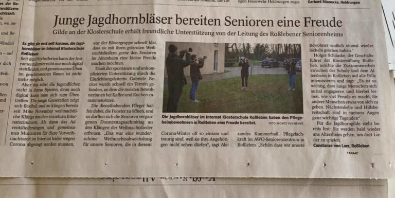 Junge Jagdhornbläser bereiten Senioren eine Freude